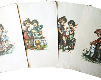 Four Vintage Hummel Children Prints for Framing on Thick Ivory Paper