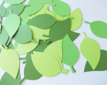 """Leaf Cutouts, Shades of Green Party Decoration, 50 CT. , 2.5"""" x 1.5"""" Table Decor"""