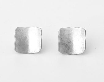 Burnished Gold and Silver Minimalist Square Earrings