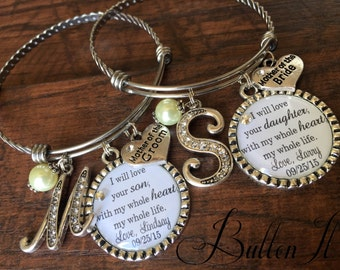Mother of the GROOM bracelet, Mother of the Bride Gift, INITIAL jewelry BANGLE bracelet personalized Wedding, Today a Groom Forever your son