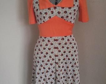 Very Cute 1970's Floral A line Dress Mod Scooter Dress