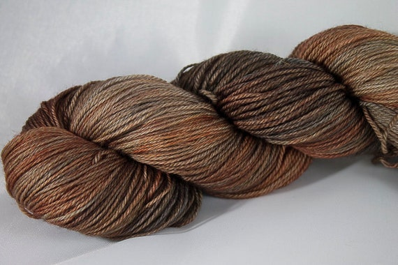 Hand Dyed Light Fingering Yarn, Brass Age Colorway, 3-ply Kettle Dyed Yarn