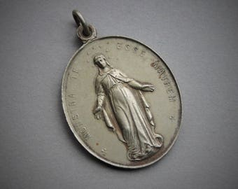 Large Antique French Congregation of the Children of Mary Medal / Antique Catholic Relic Medal