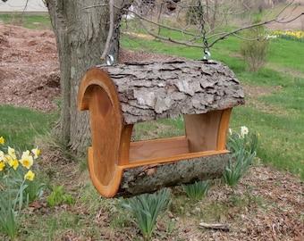 Fly Through Feeder, Cool Log Bird Feeder, Upcycled Bird Feeder, Natural Log Bird feeder, Hanging Bird Feeder, Ready to Ship