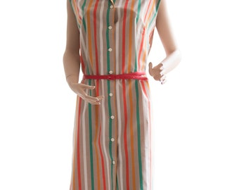 Striped 70s Button Down Dress Size M - L | 38 - 42 | US 8 - 12 | UK 10 - 14