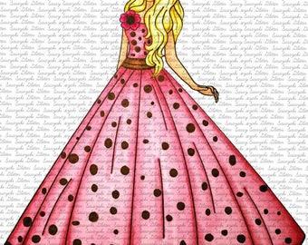 Beautiful Girl Digital Stamp By Sasayaki Glitter