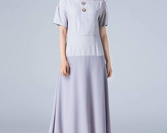 gray dress, linen dress, chiffon dress, A line dress, elegant dress, block dress, summer dress, womens dresses, party dress, plus size 1791