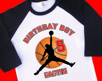 Air Jordan Basketball Birthday Shirt. Personalized Raglan with Name and Age. 1st 2nd 3rd 4th 6th 7th 8th 9th 10th Birthday T Shirt. (35157)