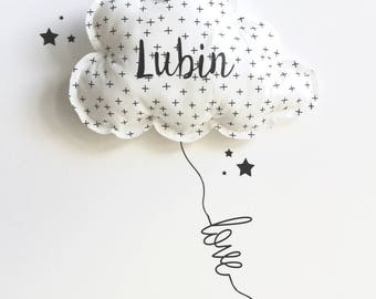 Cloud decor and personalized stickers kit.