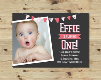 1st Birthday Invitation - Printable Invitation - Kids Party Invitation - Photo Invitation - Bunting Invitation