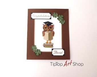 Quilling Graduation Card - Quilled Owl Invitation - Quilling Congratulations card