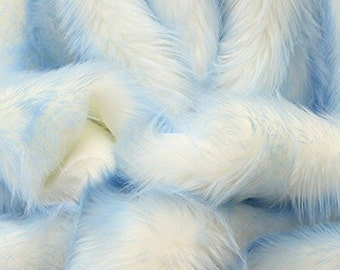"Faux Fur fake White With baby blue  Frosted tips fabric 60"" Wide sold by the yard"