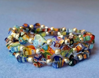 Multicolored Millefiori Wrap Bracelet Glass Hearts and Silver Plated Beads on Memory Wire Coils