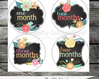 Instant Download: DIY Printable Baby Monthly Stickers- Baby Milestone Stickers -Floral Chalkboard -Photo Prop -Gift -Baby Shower -Just Born