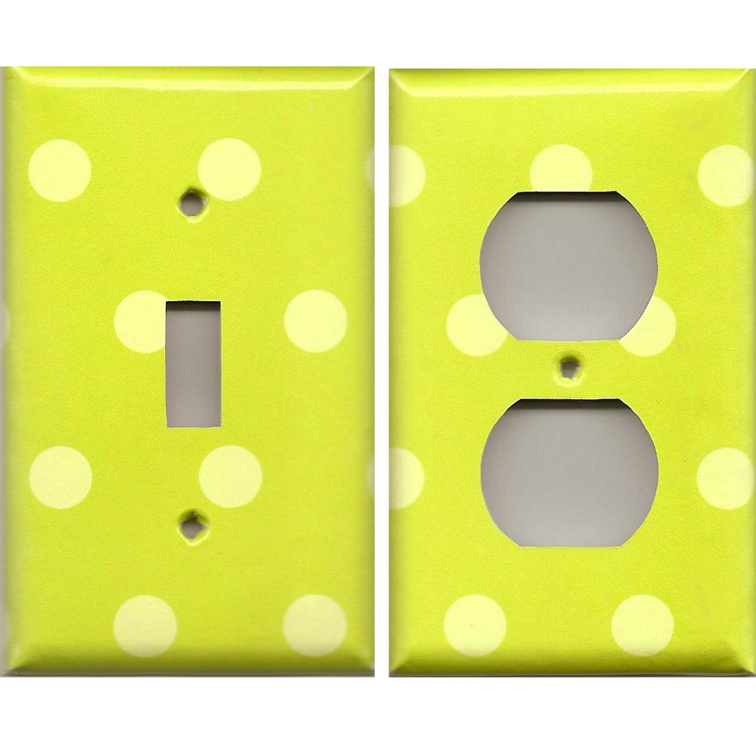 Neon Lime Green Polka Dots Light Switch Cover and Outlet