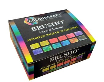 Colourcraft Brusho Crystal Colour Assorted Pack of 12 Pigment Powders