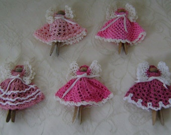 Set of 5 Shades of Pink Angels on Clothespins for Your Tree