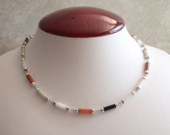 Jade Choker Necklace Sterling Silver Rust Red Light Green Ivory Black Tube Shape 17 Inches Vintage V0723