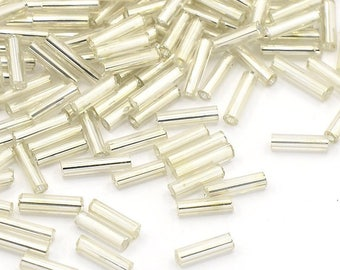 20 g of seed beads 6 mm white glass tube