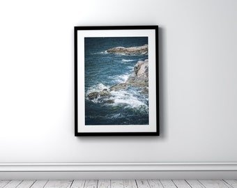 Picture of Ocean Waves Crashing on Rocks, Ocean Waves Photographic Print, Ocean Photo Art, Ocean Waves Picture for Download & Print