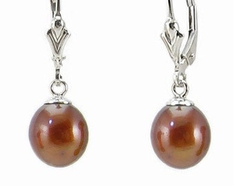 14K White Gold Freshwater Chocolate Brown Teardrop Pearl Leverback Earrings -  Hand Crafted Vintage Style - Brown Pearls - Gift for Her
