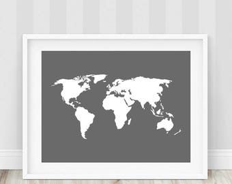 Gray world map etsy grey world map print gray world map map of the world world map printable large world map world map poster world map art art print gumiabroncs Images