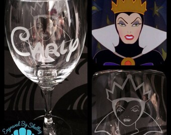 Personalised Disney Villain Evil Queen Wine Glass With Free Name Engraved In Disney Font. Totally Unique Gift For Any Disney Fan!
