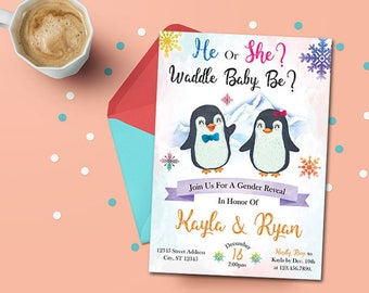 Penguin Gender Reveal Invitation, Gender Reveal Invitation, Penguin Baby Shower, Personalized Printable Digital Waddle Baby Be Invitation