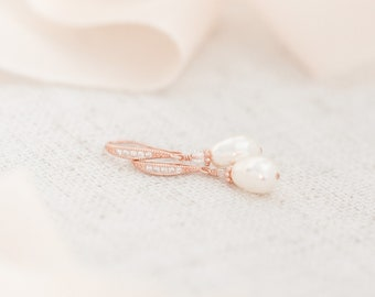 Bridal Earrings Rose Gold, Pearl Earrings, Pearl Wedding Earrings, Teardrop Earrings