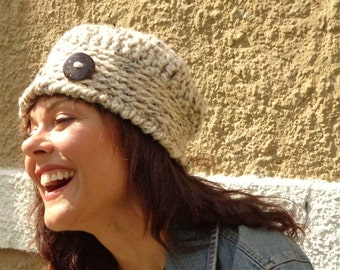 Hat, Chunky, Edging, Oatmeal, Warm, Winter, Fall, Coconut Button