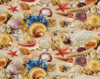 BEACH SEASHELL Fabric,  Yardage Fabric, nautical scene,  by the yard, seashells, sand print,  cotton