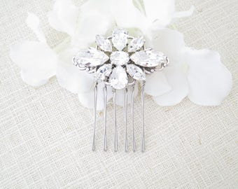 Swarovski rhinestone comb, Crystal wedding hairpiece, Vintage style headpiece, Hair accessory