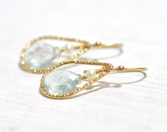 Aquamarine Earrings, March Birthstone Jewelry, March Birthday Gift, Wife Gift, Aquamarine Gold earrings,  Freshwater Pearl earrings