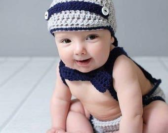 Newsboy Hat Diaper Cover Set