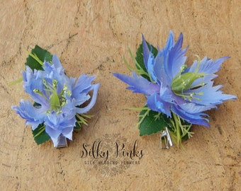 Hair Accessory, Blue Flower Hair Clips, Floral hair clasps, Blue Floral Hair Decorations
