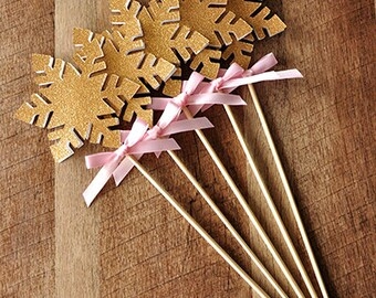 Snowflake Wands in Pink and Gold.  Handcrafted in 2-5 Business Days. 5ct Winter Onederland Party Decorations.