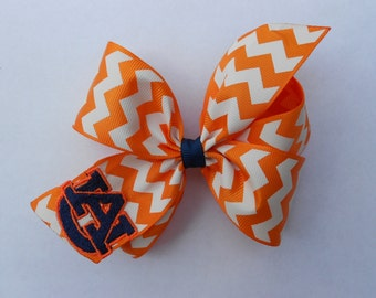 Embroidered Auburn, Hair Bow, Tigers Monogrammed, Hairbow, Girls Toddler, Kids Boutique, Monogram University, Football College, AU Chevron