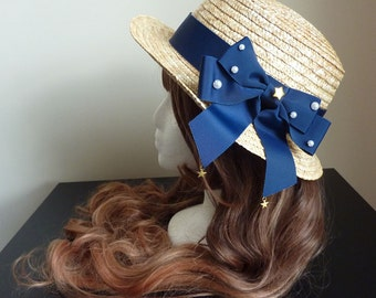 Starry Marine Navy Straw Boater Hat
