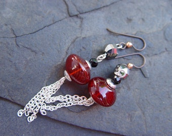Hollow Red Glass Earrings with Chain Dangles