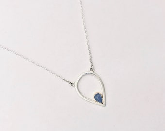 Pear Shaped Tanzanite Two-Tone Necklace