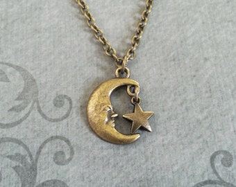 Moon Necklace SMALL Man in the Moon Jewelry Bronze Moon Charm Necklace Moons and Stars Jewelry Star Necklace Brass Moon Pendant Necklace