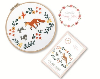 Counted Cross Stitch Kit - Fox and Rabbits / fox cross stitch pattern, craft kit, embroidery, gift, fun, dmc, supplies, handmade, woodland
