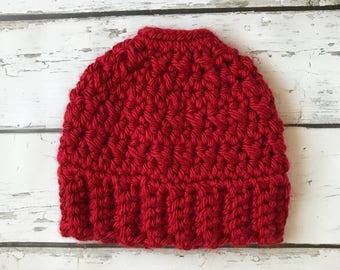 Messy Bun Hat, Messy Bun Beanie, Crochet Bun Hat, Runner's Hat, Winter Hat, Bulky Crochet Hat, Ponytail Hat