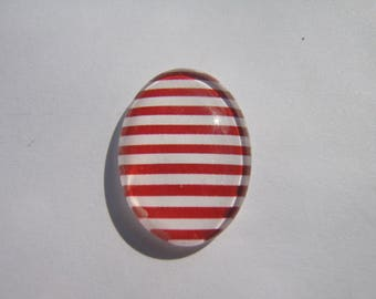 Glass cabochon oval 25 X 18 mm with the image of sailor striped red