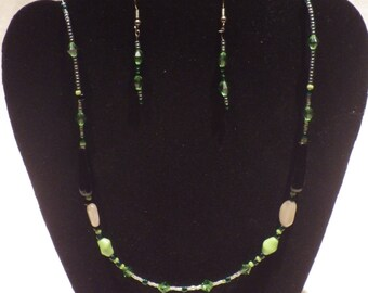Handmade Green Jewel Necklace and Matching Earrings