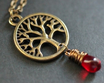 Tree Necklace. Bronze Tree of Life Necklace. Wire Wrapped Red Teardrop Necklace. Handmade Jewelry.