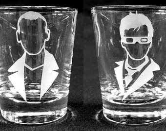 Custom Etched DOCTOR WHO Shot Glasses - Set of 4!