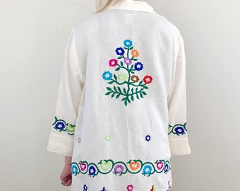 Neon Floral Embroidered Linen Jacket