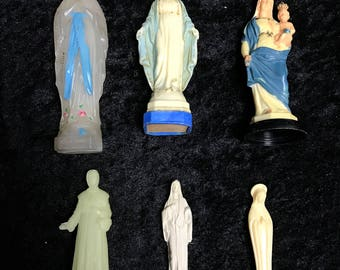Mary & Various Religious Statues Antique Vintage