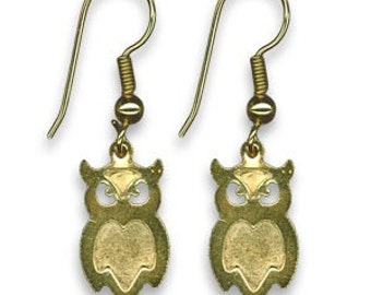 Vintage Give a Hoot Owl Earrings Gold Tone